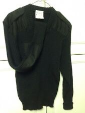 English Military Sweater Jumper Black V-Neck 67 % Polyester 33% Cotton