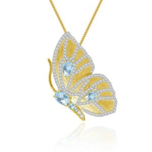 925 Sterling Silver Butterfly Brooches Pendant Natural Sky Blue Topaz, BFLY44