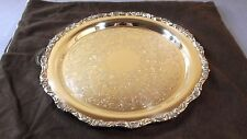 """Antique Crescent Silverplate Round Ornate Scallop Edge&Etching 13""""Tray #4899R"""