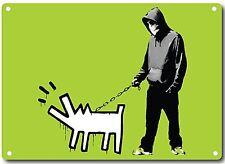 Banksy Sudadera Hombre Y Perro Letrero Metálico de Pared 380mm x 280mm (2f)