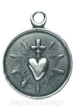 Lovely SACRED HEART / IMMACULATE HEART Medal, silver from 19th c French original