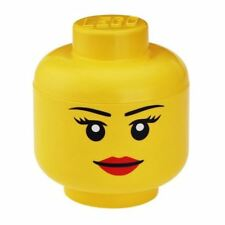 LEGO SMALL TOY BRICKS STORAGE HEAD GIRL YELLOW PLAYROOM KIDS GIRLS