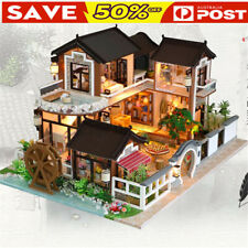 DIY Dollhouse Miniature Furniture Kit LED Birthday Gift Model House Home Decor