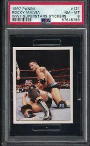 1997 Panini WWF ROCKY MAIVIA THE ROCK  DWAYNE JOHNSON Wrestling PIN Card PSA 8
