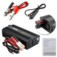 1000W US Plug Car Power Inverter DC 12V To AC 110V 2 USB Adapter Charger Supply