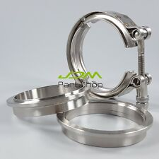 """3-1 3.5"""" Inch V-BAND CLAMP Kit Turbo Exhaust - Heavy Duty Cons Stainless Steel 5"""