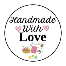 """30 HANDMADE WITH LOVE ENVELOPE SEALS LABELS STICKERS 1.5"""" KNITTING HAND MADE"""