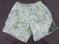 Speedo Vintage Shorts Men's Size M Floral Print Swim Trunks  ,Green nylon