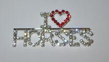 Brooch Jewelry Clear Red Silver Tone I Love Horses Pin Heart Rhinestone New