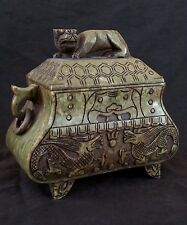 Vintage Chinese hand carved green hard stone coffer box, 8 inches