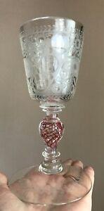 Antique Bohemian glass goblet, 18th Century , Wonderful , RARE