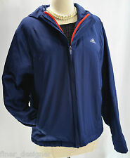 Adidas double zip JACKET sz L thin quilted padded Blue ladies coat hood hoodie