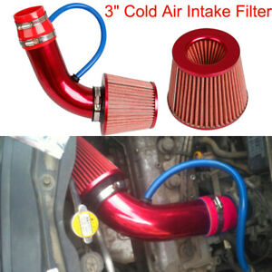 3'' Cold Air Intake Filter Induction Kit Red Pipe Power Hose + Clamp+Accessories