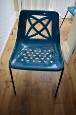 Retro vintage unusual turquoise plastic chairs x 2