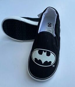GAP Batman Slip On Sneakers Little Kids 9 New Black White Shoes DC Comic Bat Man