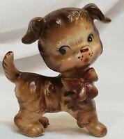 Vintage Ceramic Dog Figurine Anthropomorphic Mid Century Brown Kitsch Japan 60s