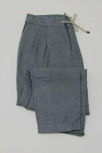 NWT$1095 Brunello Cucinelli Men Smooth Fit 100% Linen Drawstring Waist Pant A211