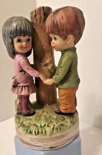 Gorham Moppets Love Story Music Box Fran Mar Japan 1973 Ceramic Boy Girl Tree