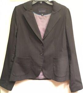 Banana Republic 14 Gray Pinstriped Button Pockets Long Sleeve Blazer Jacket
