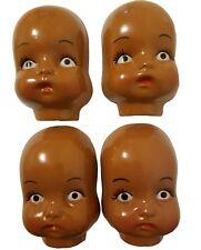 "Lot 4 Vintage 4.5"" Craft Plastic Doll Faces Masks Black Ethnic African American"