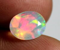Top Natural Loose Gemstone Ethiopian Fire Opal Oval Shape Cut Stone 0.9 Cts S42