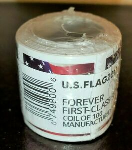 (1) ROLL / COIL OF 100 US FLAG NEW FOREVER POSTAGE STAMPS