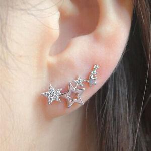 925 Silver Shiny Star Stud Earrings Women White Sapphire Jewelry Wedding Party