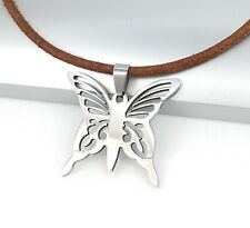 Silver Chrome Stainless Steel Butterfly Pendant Brown Leather Choker Necklace