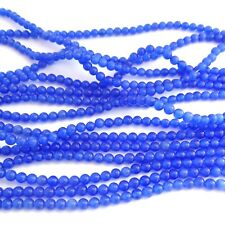 100 Cats Eye 4mm Round Beads Sapphire