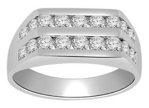 Men's Engagement Ring I1 G 1.01 Ct Genuine Diamond Channel Set 14K Gold 7.85 MM