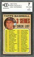 Carl Yastrzemski Card 1968 Topps #192A Checklist 3 Boston Red Sox BGS BCCG 7