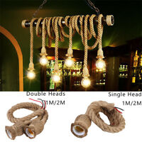 E27 Vintage Industrial Style Pendant Lamp Edison Hemp Rope Ceiling Light Fixture