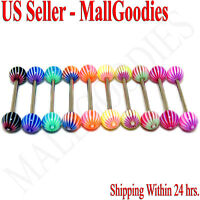 W030 Acrylic Tongue Rings Barbell Stripes Design LOT 10