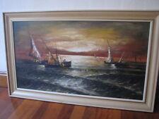 VINTAGE HUGE AUSTRALIAN MARINE OIL PAINTING SIGNED H KOBALD 1971