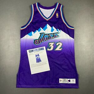 100% Authentic Karl Malone Champion 96 97 Jazz Autographed Game Jersey Mears LOA