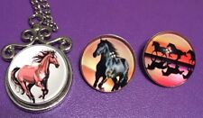 Necklace 3 Multicolor Cabochons Horse Stallion 20mm Snap Silver (Keychain,Too)