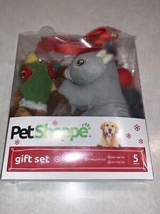 Pet Shoppe Dog Puppy Vinyl Rope Squirrel Duck Dog Plush Toys 5pc Gift Set Xmas