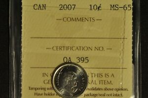 Canada 2007 Dime 10 Cent - ICCS - MS65 -