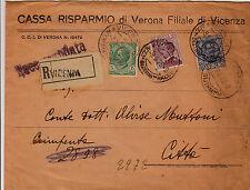 FLOREALE 5+20 cent+1,25 Lire-Busta raccomandata Vicenza x città 9.5.1928