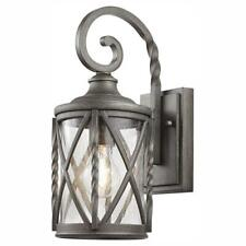 Home Decorators 1-Light Antique Pewter 14.5 in. Outdoor Wall Lantern Sconce
