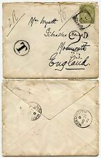 POSTAGE DUE INDIA to GB WALES 1892 QUEEN VICTORIA 4A + 2d TO PAY