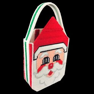 Vintage Christmas Finished Needlepoint Santa Decor Gift Bag Tote - Card Holder