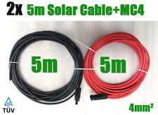 2 x 5m Solar Cable Wire MC4 Connector PV Panel to regulator 4mm² Extension Cable