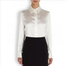 Womens White Satin Silk Business Career Dress Formal Shirt Blouse Tops Slim