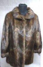 "Ladies Vintage 90's real soft Dk Brown BISAM fur coat UK 12 bust 40"" length 32"""