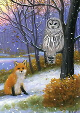 Red fox owl bird winter snow forest wildlife limited edition aceo print art