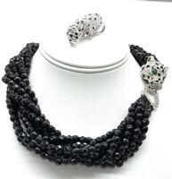 Vintage KJL Necklace Brooch Kenneth J Lane Set Leopard Rhinestone Black Bead Cat