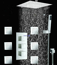 Bathroom 24Inch Shower Head With 6 Massage Jet Handheld Spray Celling Mount Set
