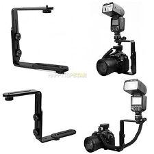 L-Shaped Double Dual Metal Bracket/Holder Mount for Nikon Camera Speedlite Flash