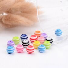 50 x 10mm Mixed Resin Striped Round  Beads